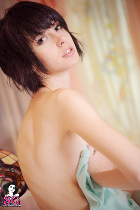 Alternative hottie in short hair